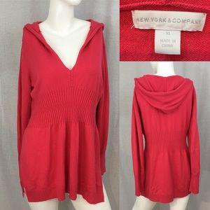 Size XL NY & Co. Pink V-Neck Hooded Peplum Sweater